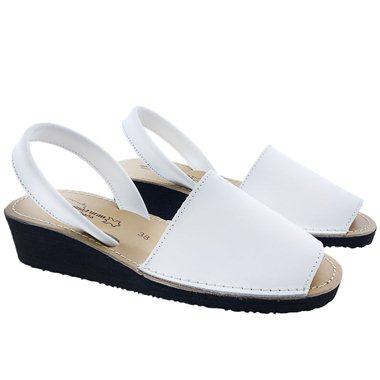 Sandalias Menorquinas Cuña Blanco