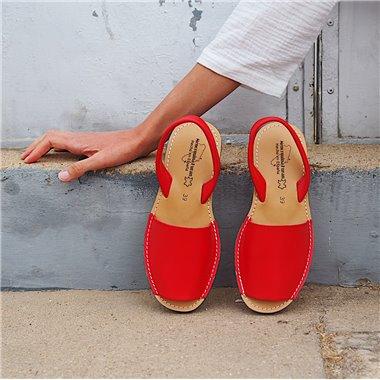 Sandalias Menorquinas Cuña Rojo